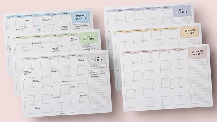 30 Hi-Res Free Printable Calendars for 2018 - Mashtrelo