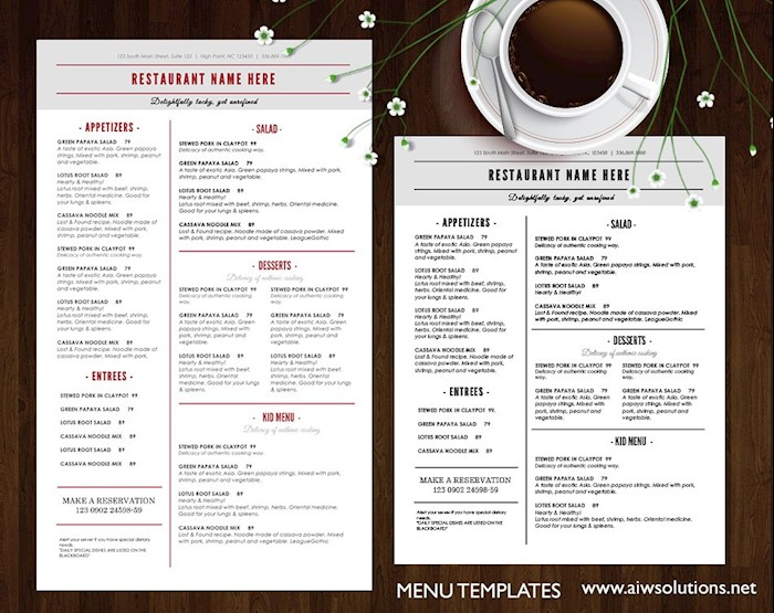 25 Free Restaurant Menu Templates for Word (Updated 2018)