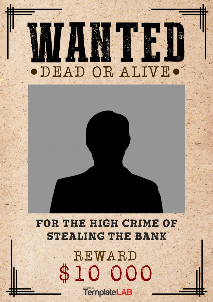 25 Free Wanted Poster Templates (Photoshop, PDF, Google Docs, Word) - most wanted posters templates