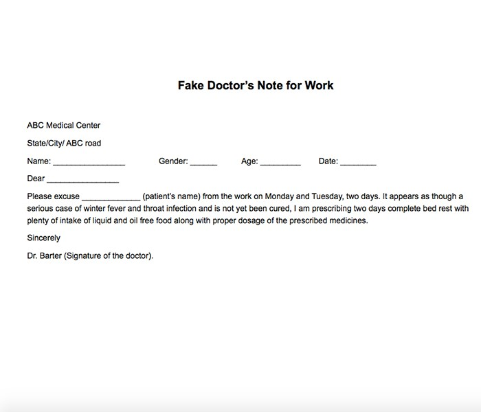 25 Free Printable Doctor Notes Templates for Work (Updated 2018) - doctors note template