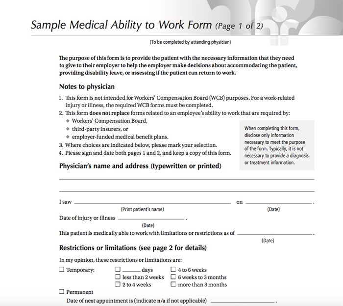 25 Free Printable Doctor Notes Templates for Work (Updated 2018) - return to work medical form