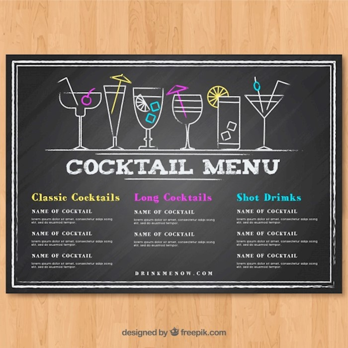 23+ Printable Premium and Free Drink Menu Templates (Updated 2018) - Free Drink Menu Template