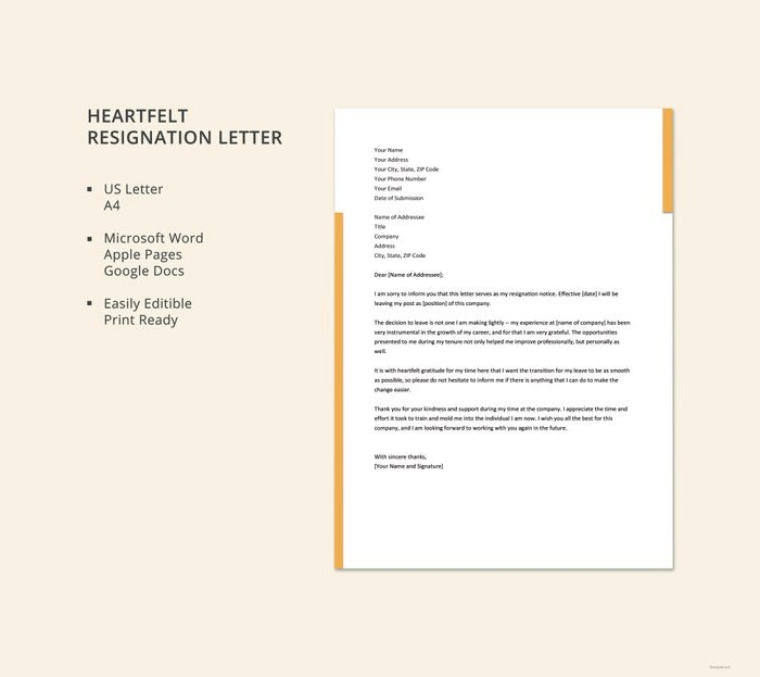 21 Simple Two Weeks Notice Letter (Resignation Templates) - heartfelt resignation letter