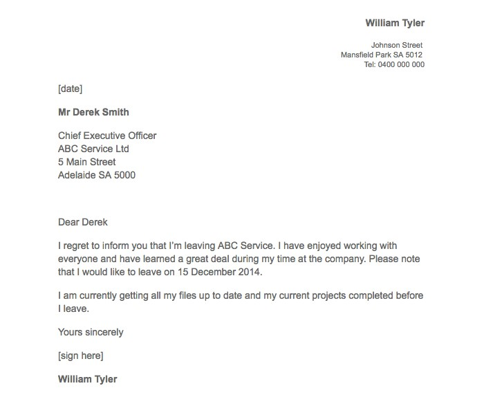 21 Simple Two Weeks Notice Letter (Resignation Templates) - resignation letter with regret