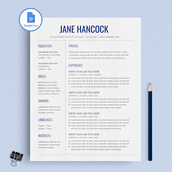 21+ Best Google Docs Resume Templates - Google Drive Examples - docs resume template