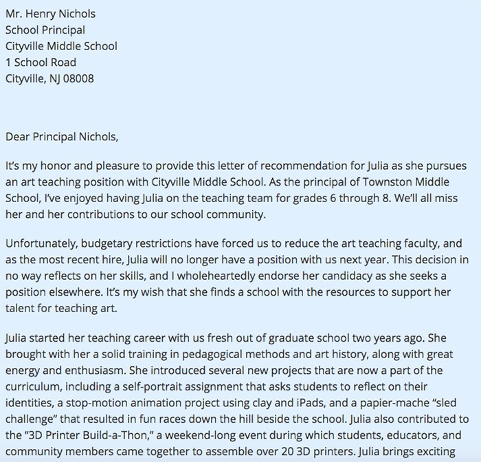 Letter of Recommendation for Teacher 15 Templates and Examples
