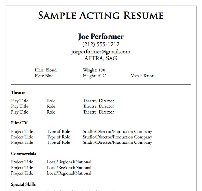 21 Acting Resume Templates + Samples