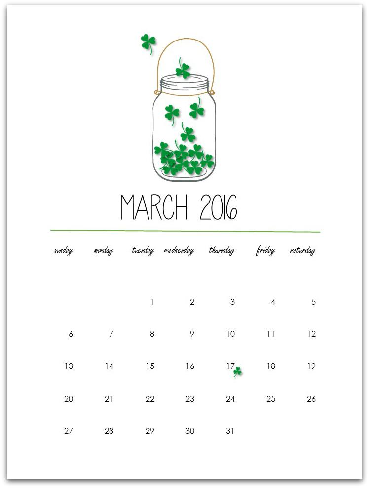 March 2016 Free Printable Calendar Page - Mason Jar Crafts Love - free printable calendar