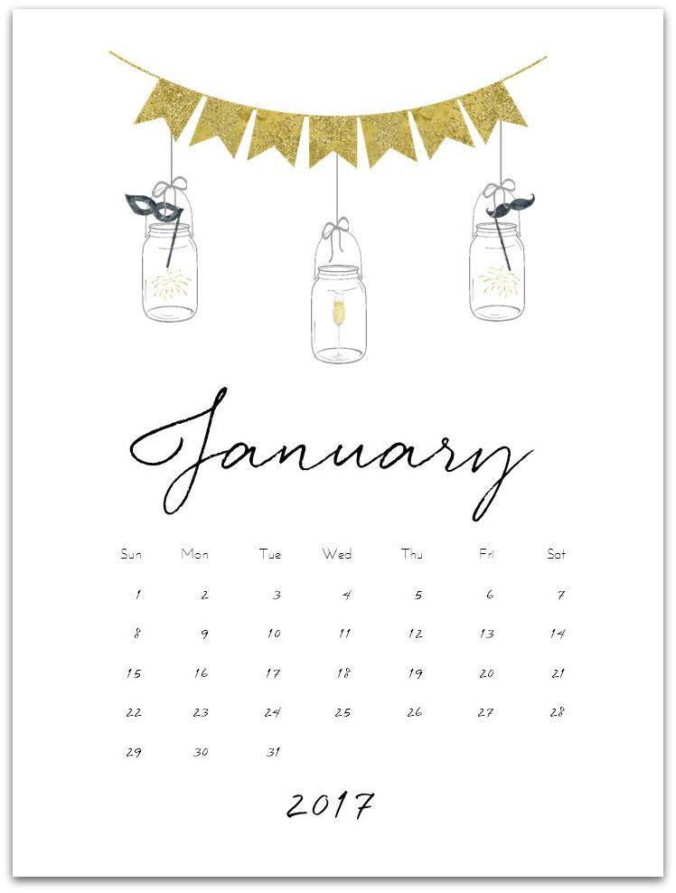 January 2017 Calendar Page Printable - Mason Jar Crafts Love