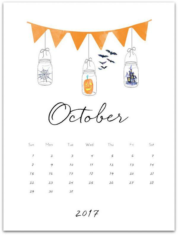 October 2017 Free Calendar Page Printable - Mason Jar Crafts Love