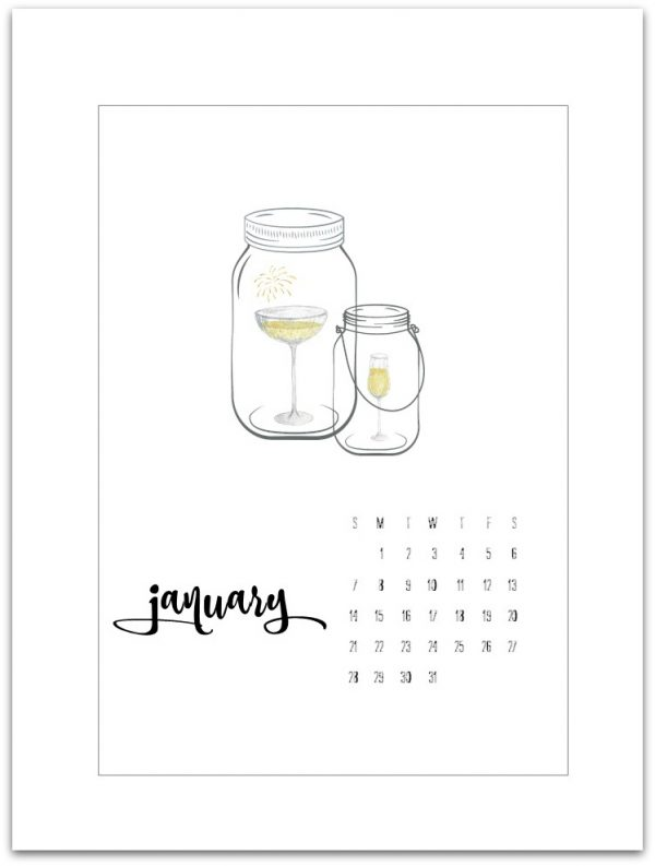 January Calendar Page Printable 2018 - Mason Jar Crafts Love