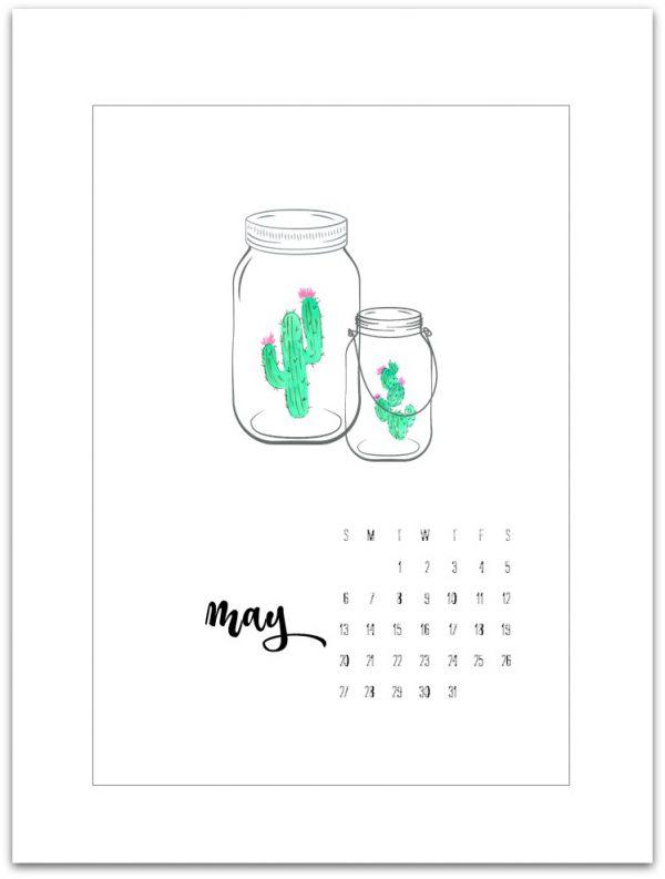 May Calendar Page Printable - Mason Jar Crafts Love