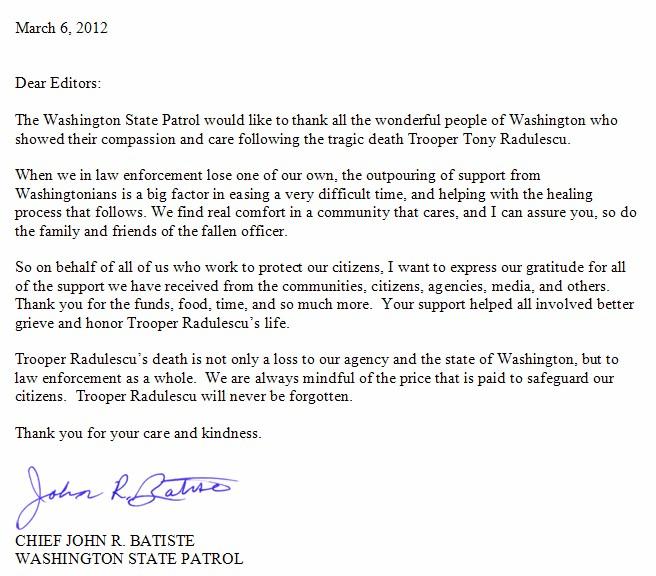 Thank You Letter from State Patrol Chief MasonWebTV