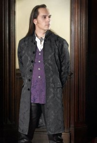 "alt=""damask brocade edwardian style frock coat"