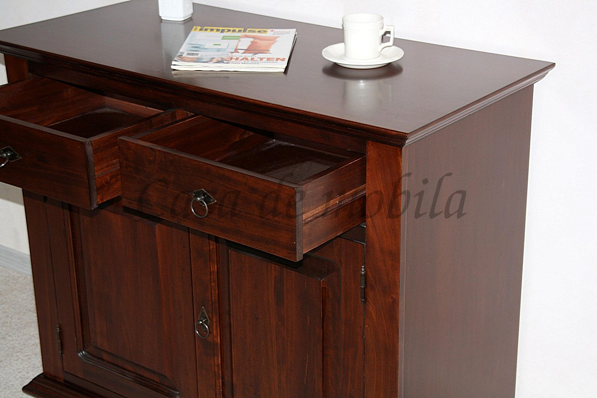 kommode braun sideboard schrank rubberwood holz mobel