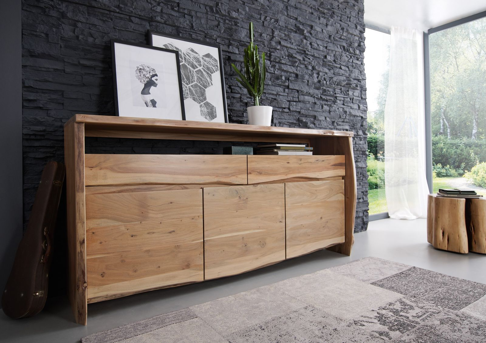 Sideboard Holz Sideboard Akazie 191x45x96 Natur Lackiert Live Edge 102