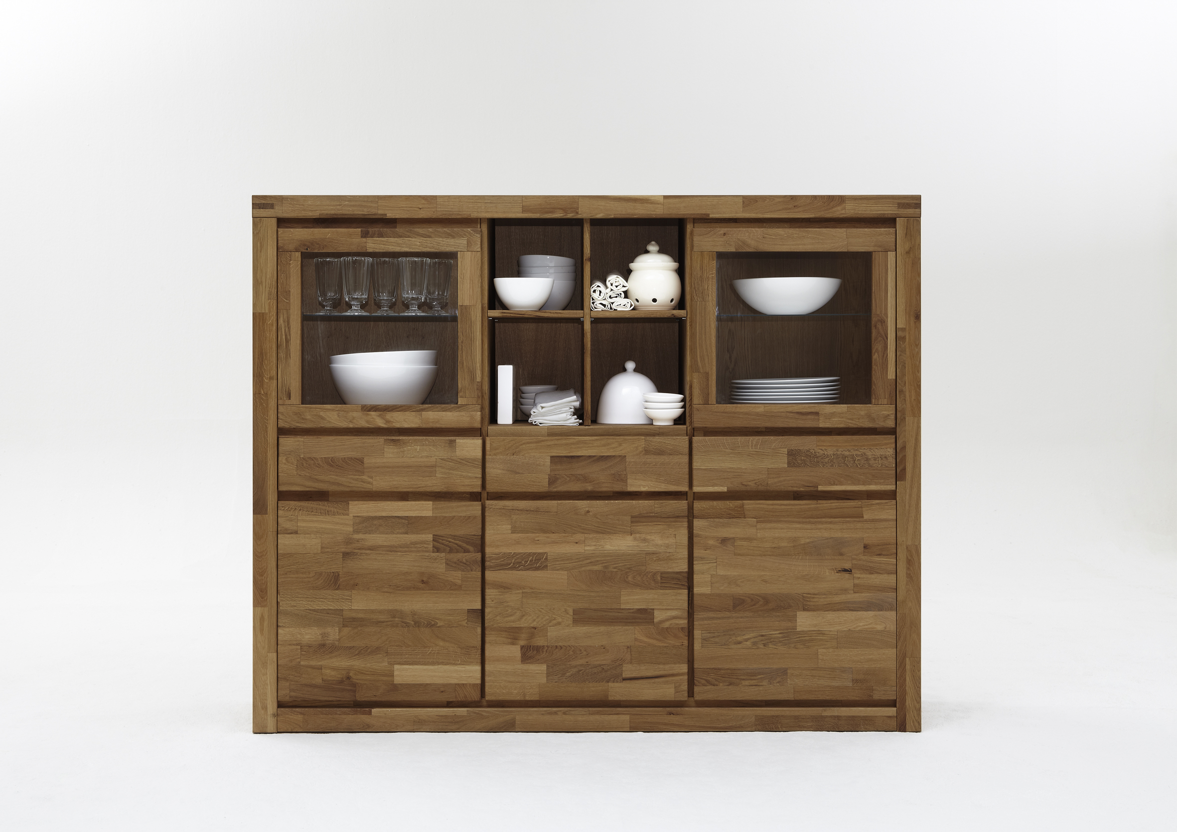 Holzmöbel Massiv Highboard Xl Wildeiche Massiv Geölt