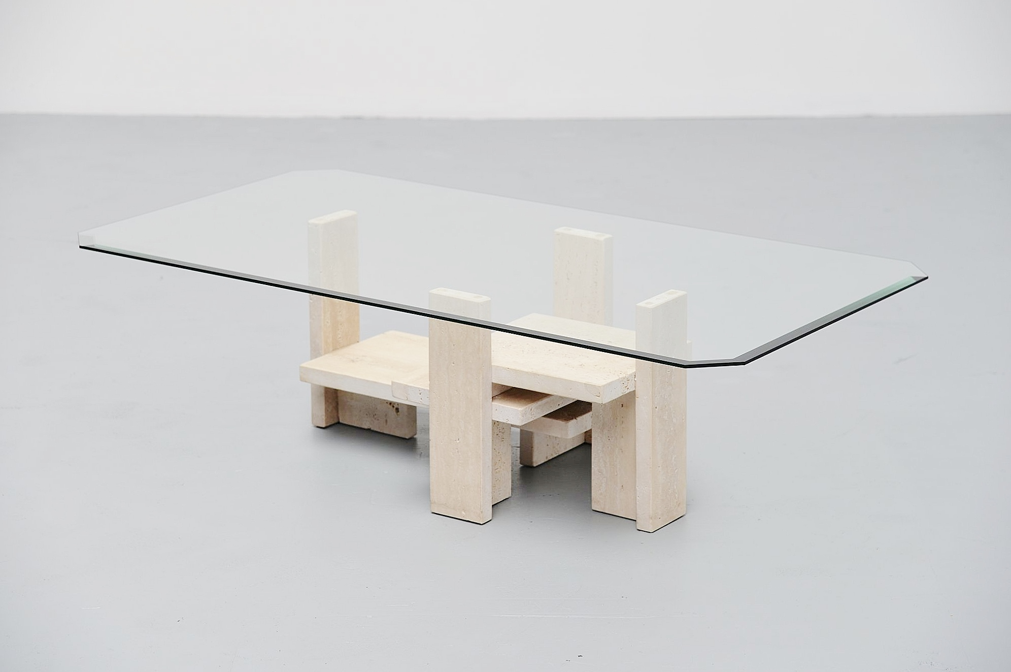 Sculptural Coffee Tables Willy Ballez Sculptural Tavertine Coffee Table Belgium