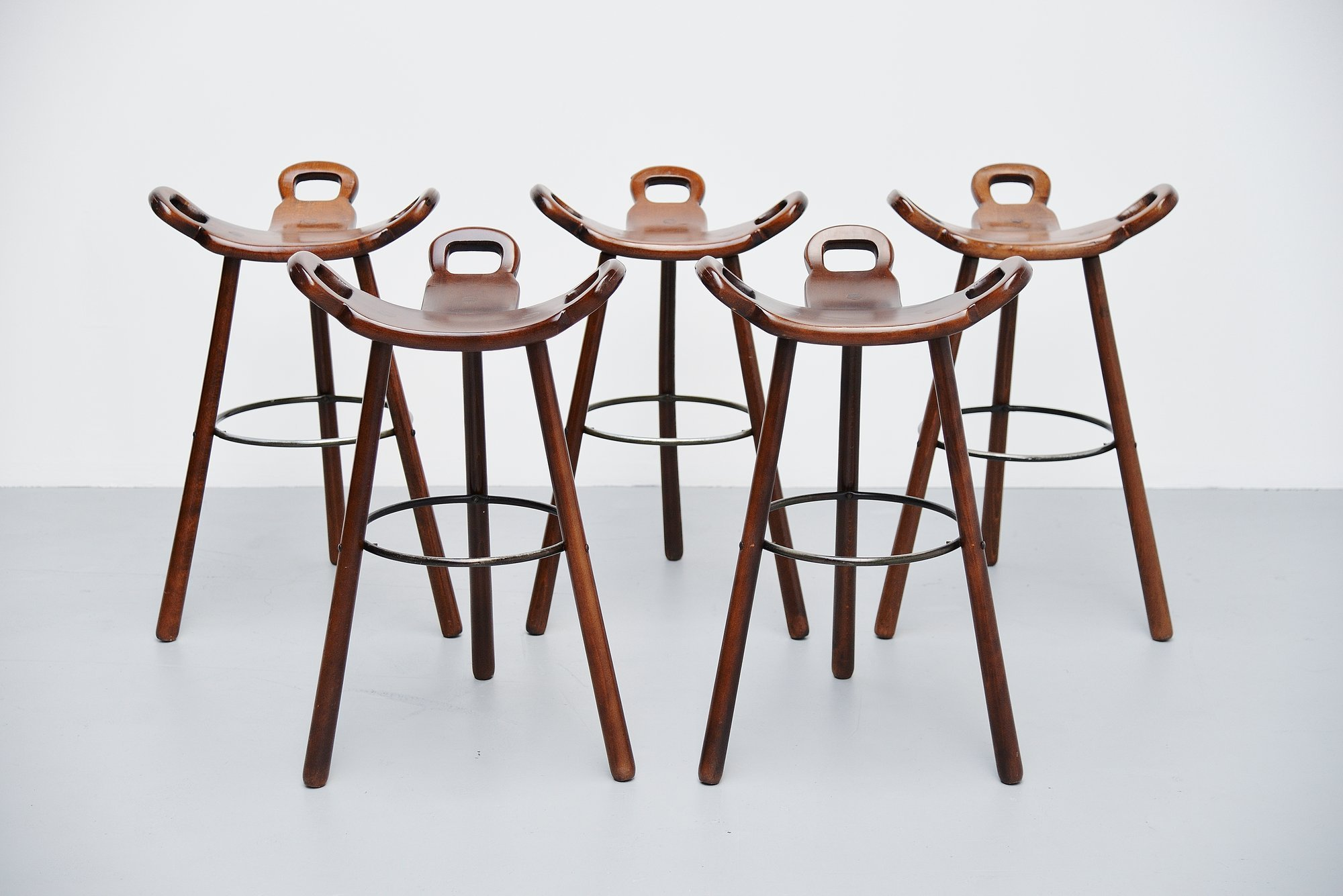 Swedish Bar Stools Carl Malmsten Bar Stools 5x Attributed Sweden 1950