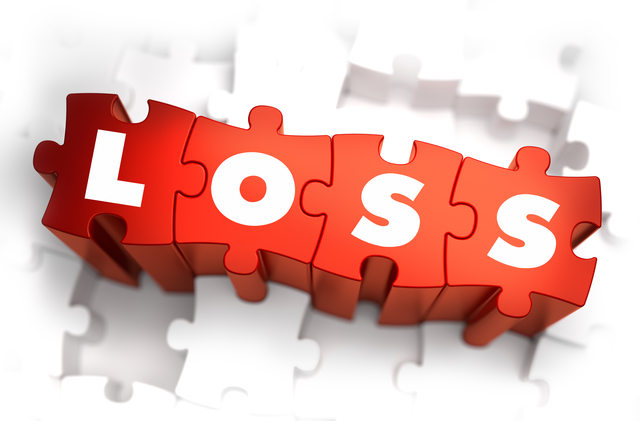 Loss - Text on Red Puzzles with White Background and Selective Focus.