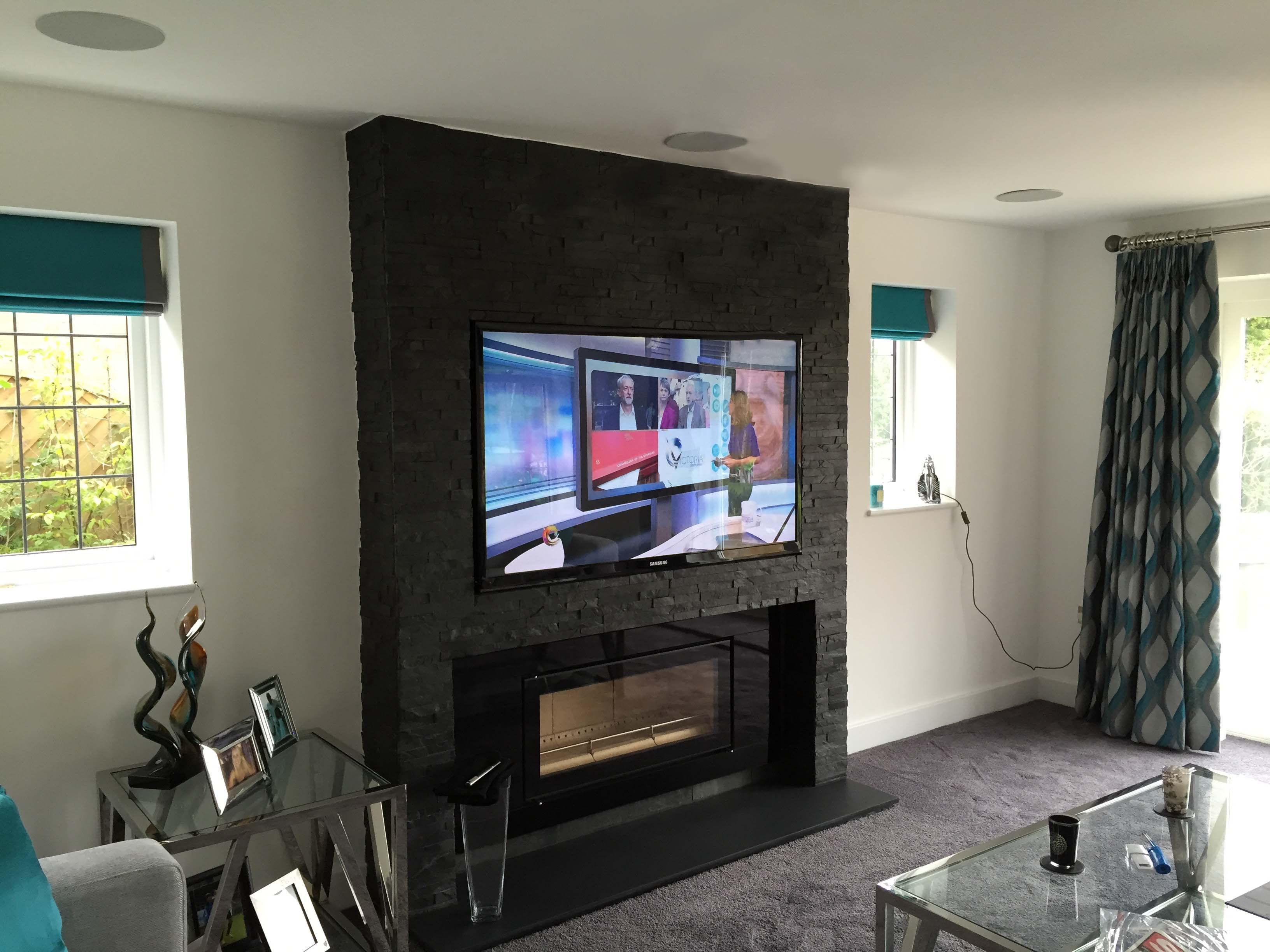 How High To Mount Tv On Wall In Bedroom Audio Visual Installation Hertfordshire New Build House