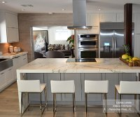 White Cabinets With A Gray Kitchen Island Masterbrand