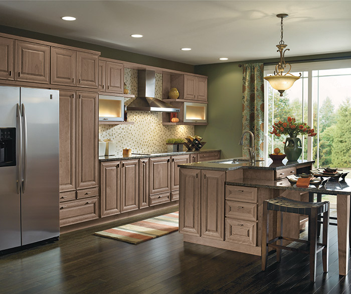 Kitchen Island Using Wall Cabinets Light Cherry Cabinets In A Galley Kitchen - Masterbrand