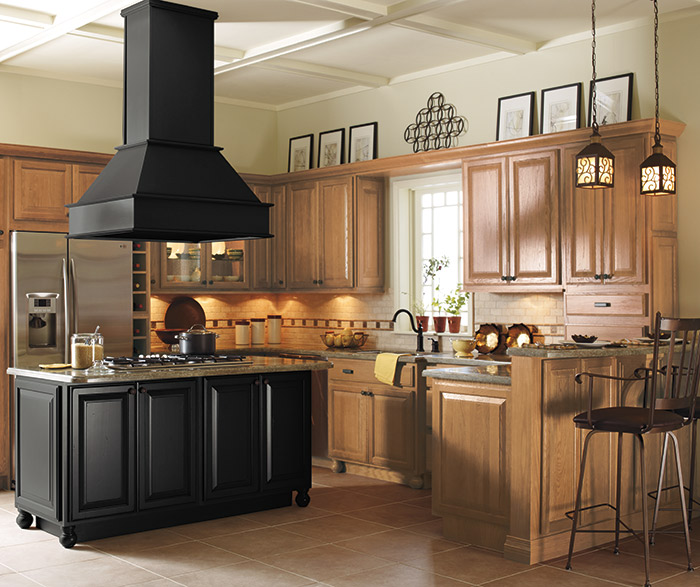 Light Oak Cabinets With A Black Kitchen Island Masterbrand