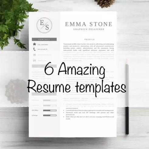 6 Professional Resume CV TemplatesMaster Bundles Master Bundles - resume cv templates
