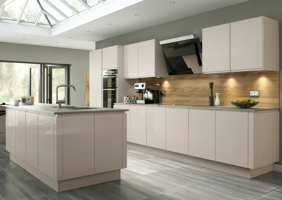 Cream Kitchen Island Unit Welford Savanna Gloss - Mastercraft Kitchens