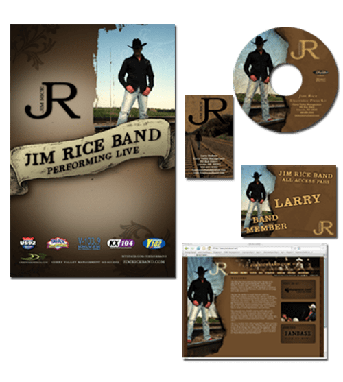 PRINT, VIDEO, WEB, DVD – Jim Rice Band | Entire Branding & Marketing Package