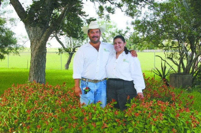 Saul and Diana Padilla of Yahweh's Farm and H.O.P.E for Small Farm Sustainability in Harlingen.  Photo by Eloise Montemayor