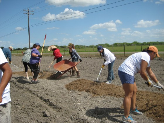 Local volunteers built beds, installed water lines and continue to support the H.O.P.E. community garden.