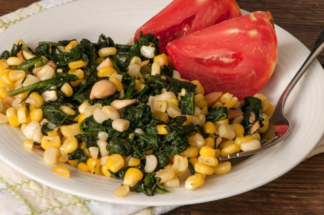 This corn recipe is another great way to enjoy your productive and heat loving malabar spinach.  Phot by Bruce Leander.