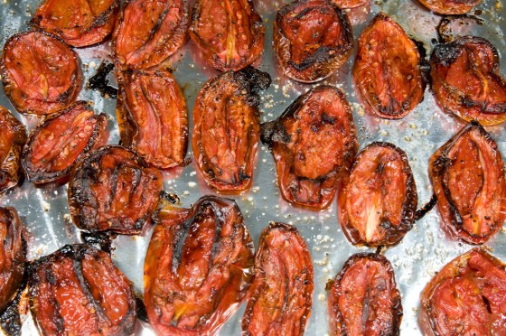 Dried tomatoes are packed with flavor.  Slowly dry tomates in a 200 degree oven, spinkle with sea salt and drizzle with olive oil.  Anzing flavor and they will keep in the refrigerator for up to a month.