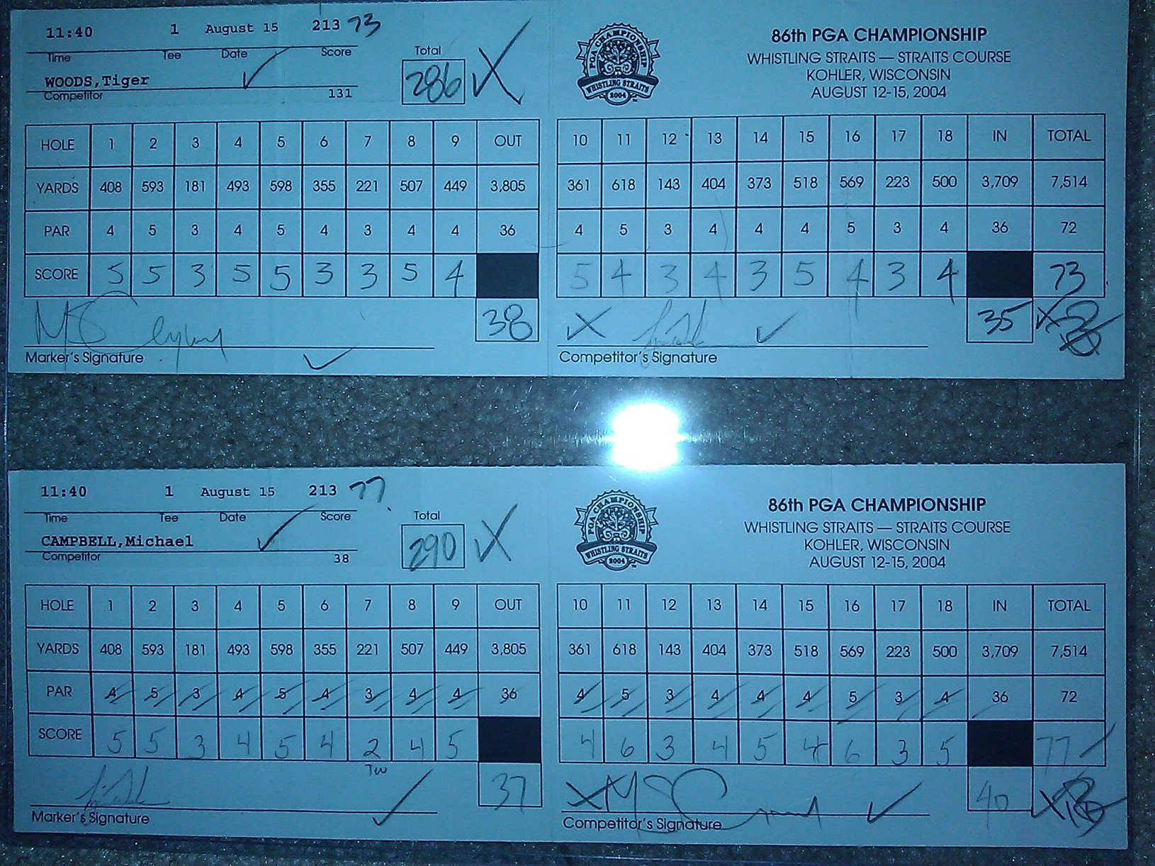 tiger woods 2005 british open scorecards