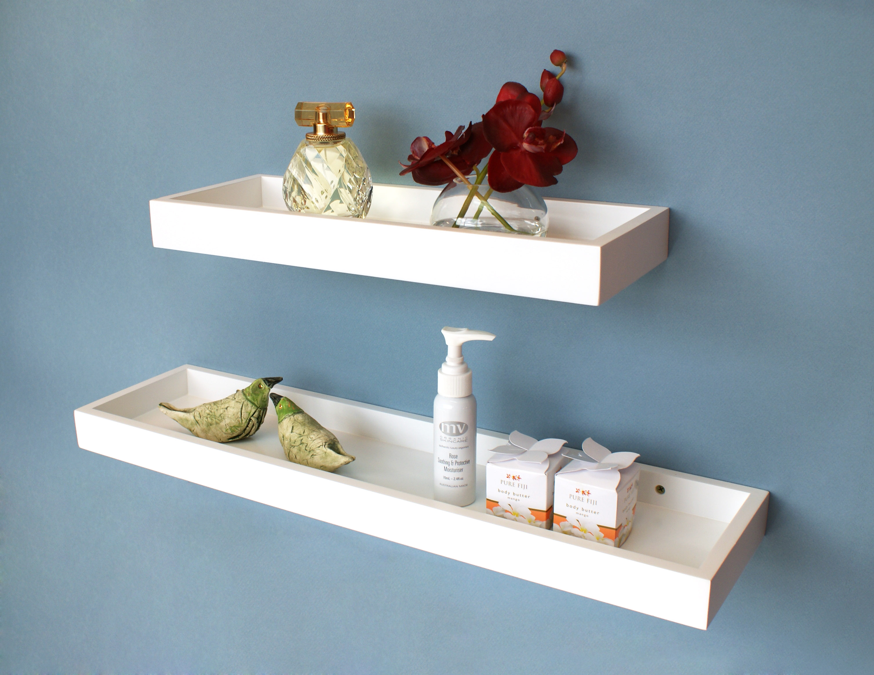 White Floating Multi Shelf 400x150x40mm Mastershelf