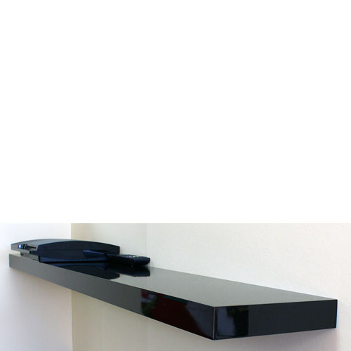 High Gloss Black Floating Shelf 1500x250x50mm Mastershelf