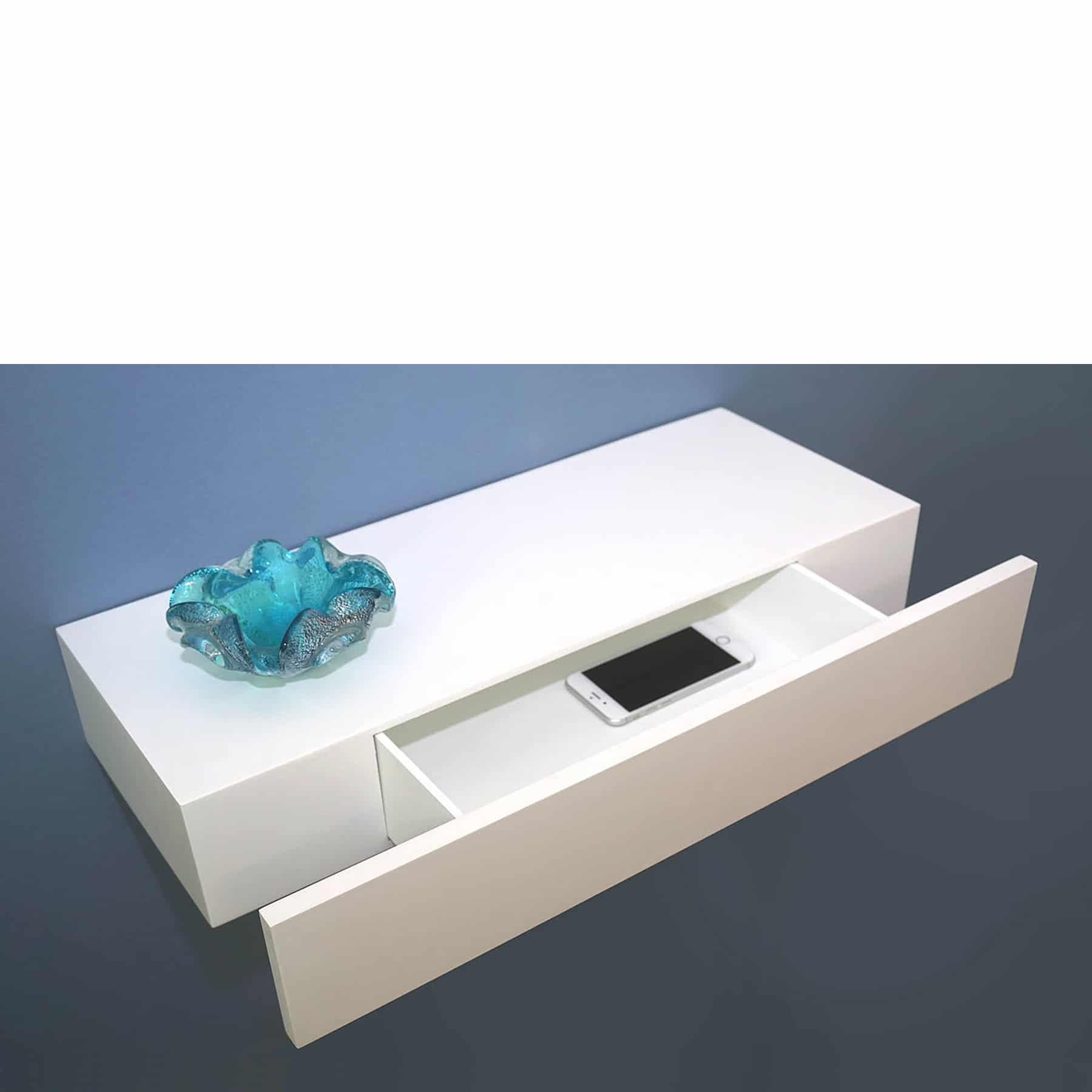 White Floating Shelves Floating Shelf With Drawer White 600x250x100mm - Mastershelf