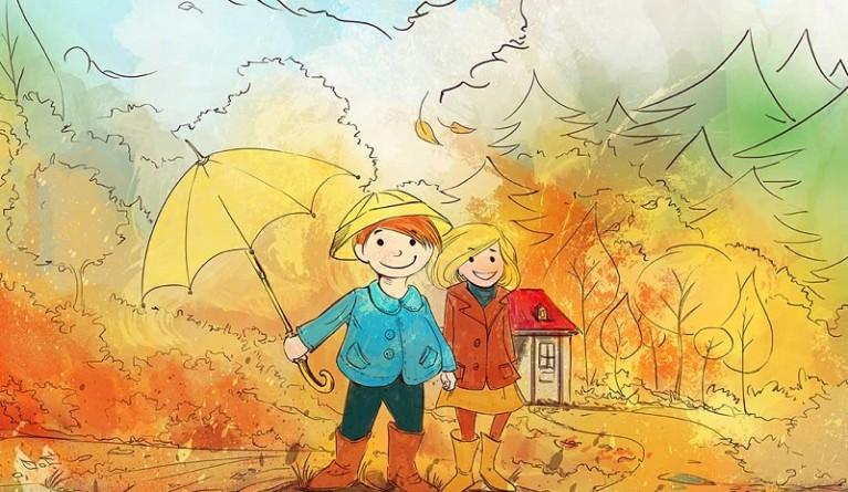 Illustration-of-happy-children-in-fall-for-Autumn-poems-for-kids