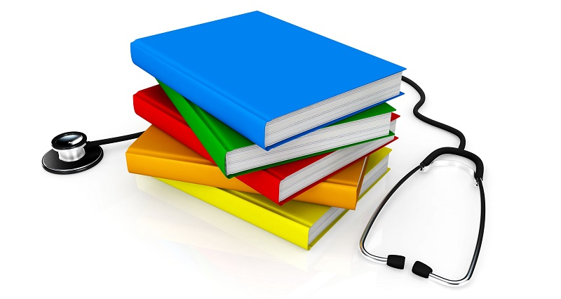 multicolored_books_with_stethoscope_medical_education_stock_photo_Slide01