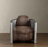 Aviator Swivel Chair with Distressed Leather Seat