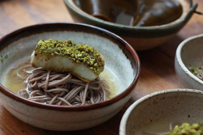 Matcha Pistachio Crusted Halibut