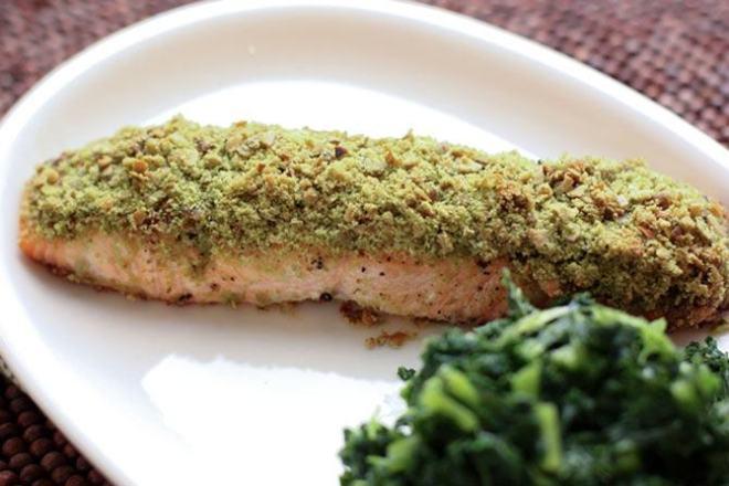 Matcha & Pumpkin Seed Crusted Salmon