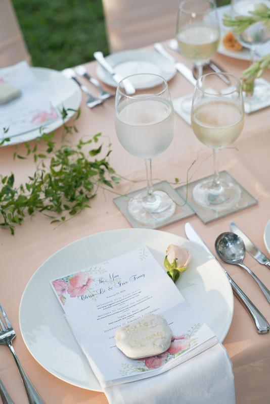 海島沙灘浪漫婚禮-巴里島肉桂VILLA-花園晚宴桌
