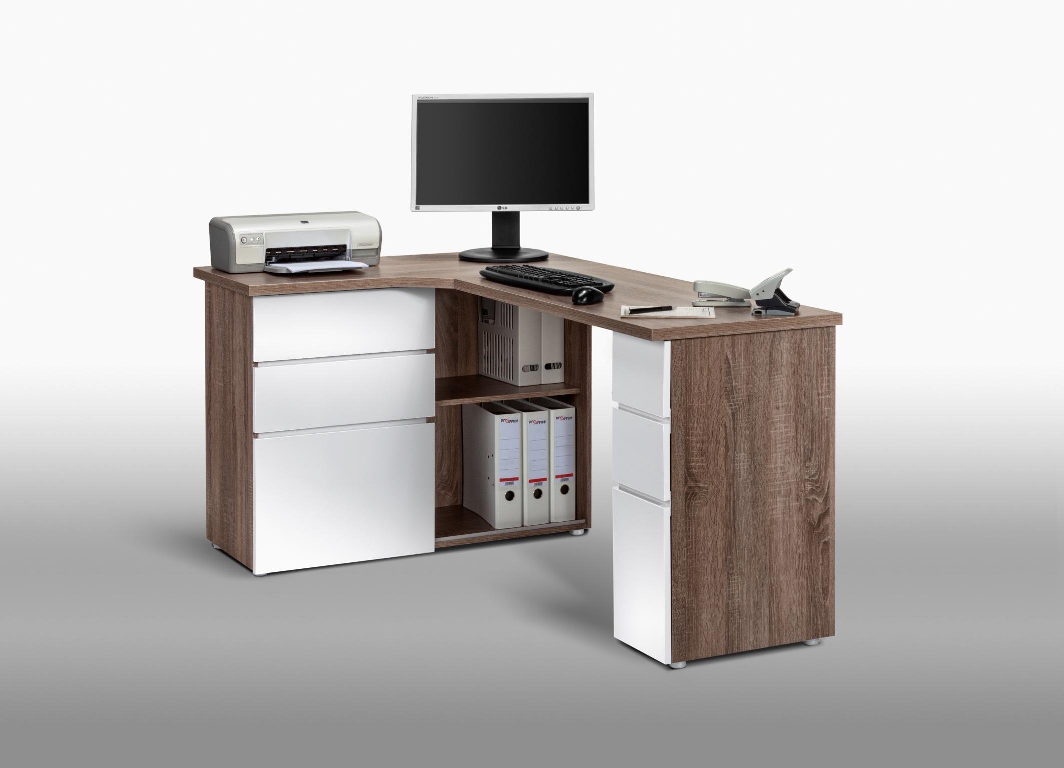 Bureau blanc laqué avec rangements bureau moderne blanc avec