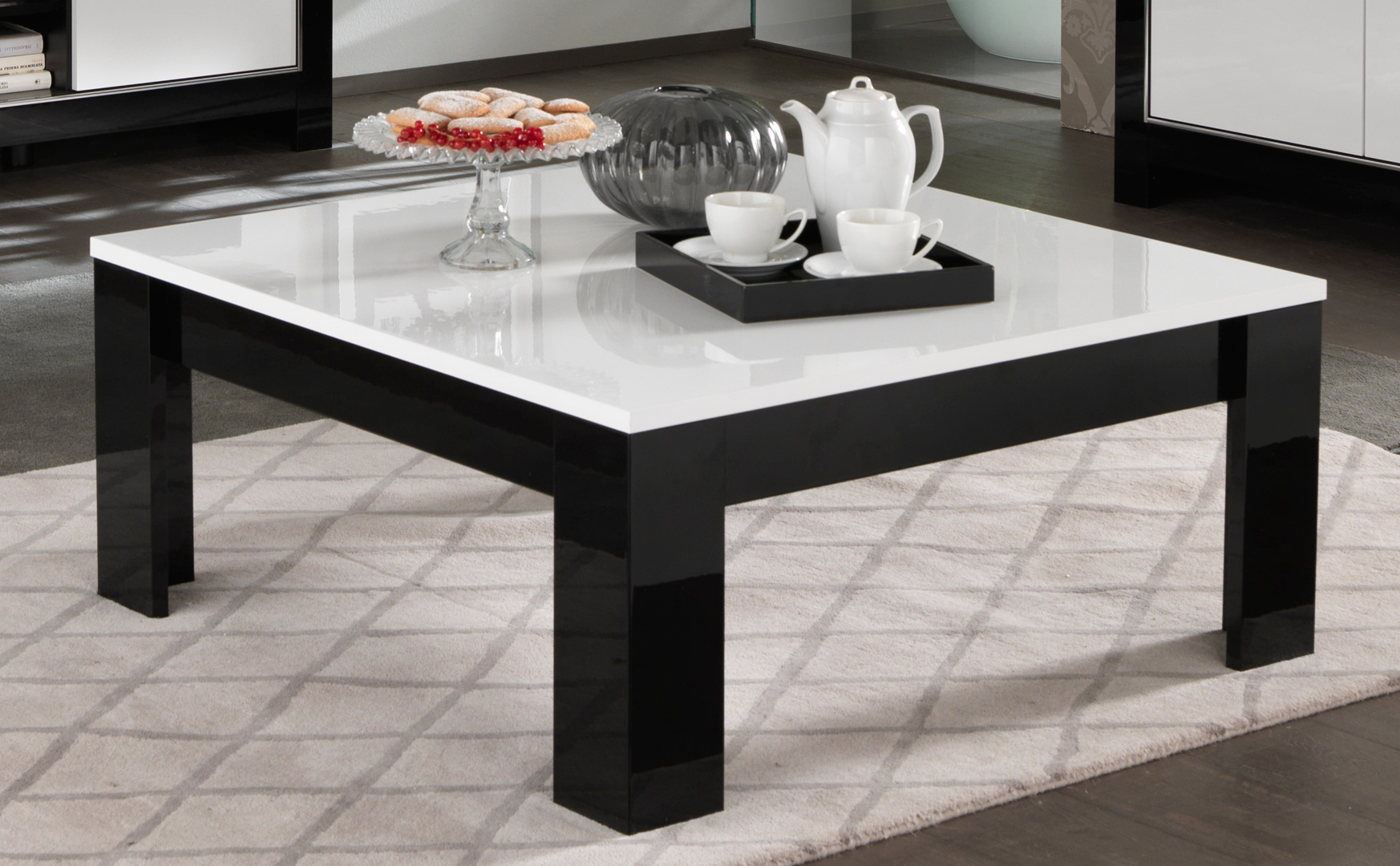 Table Basse Carrée Design Table Basse Carrée Design Laquée Blanc Noir Savana Matelpro