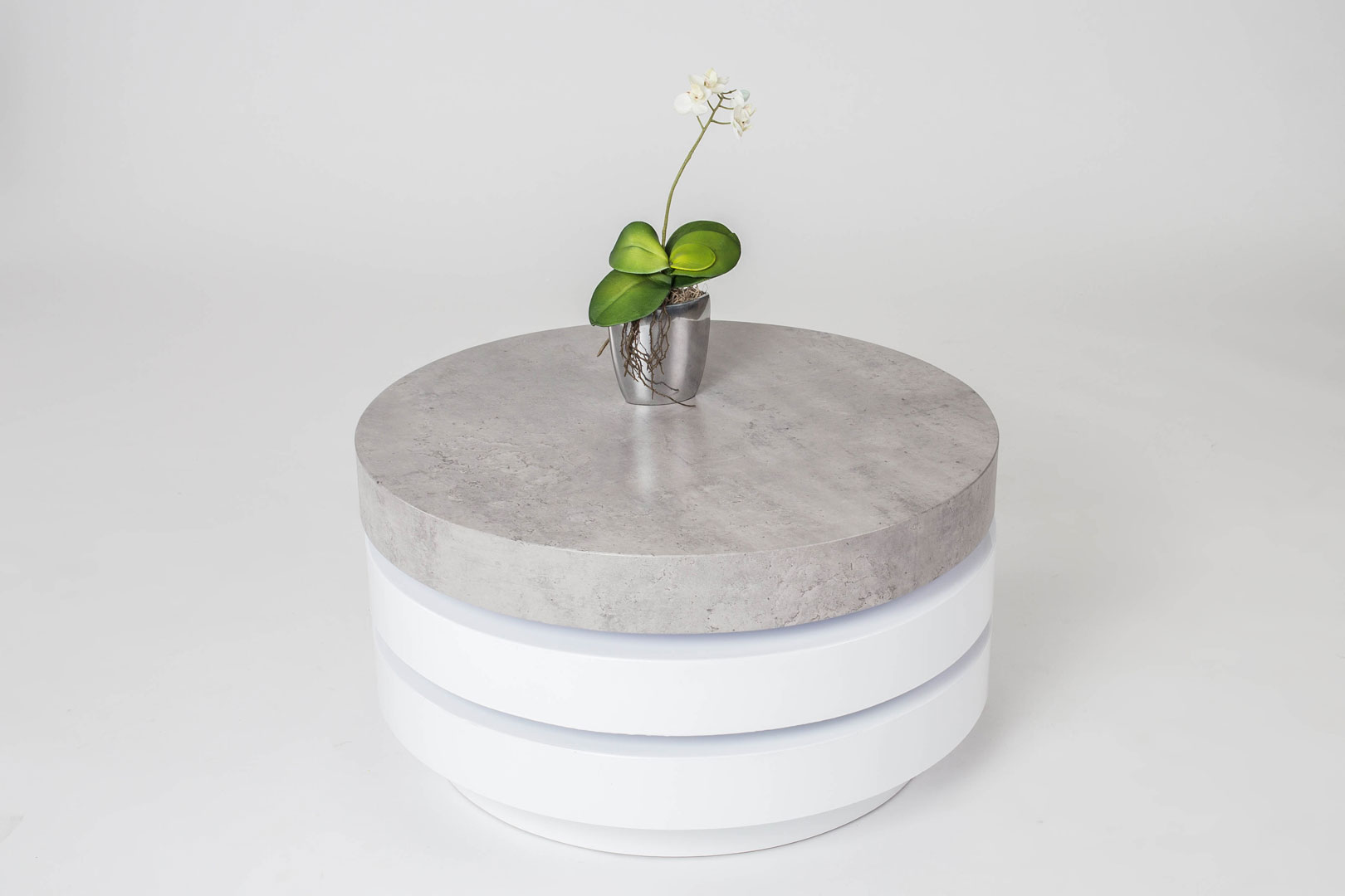 Table Basse En Beton Table Basse Design Ronde En Bois Coloris Blanc Béton Celia