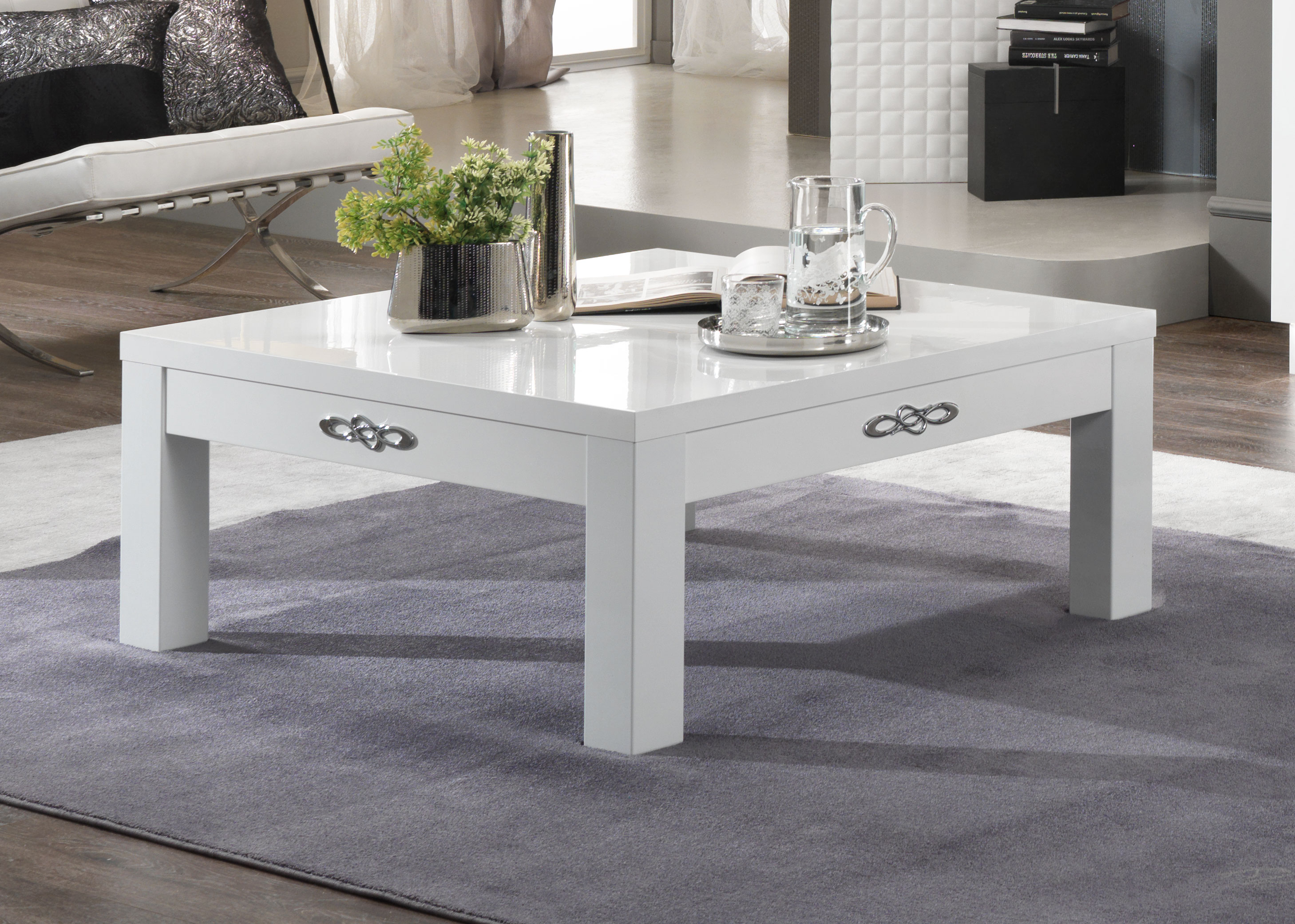 Table Design Carrée Table Basse Design Carrée Laquée Blanche Horus
