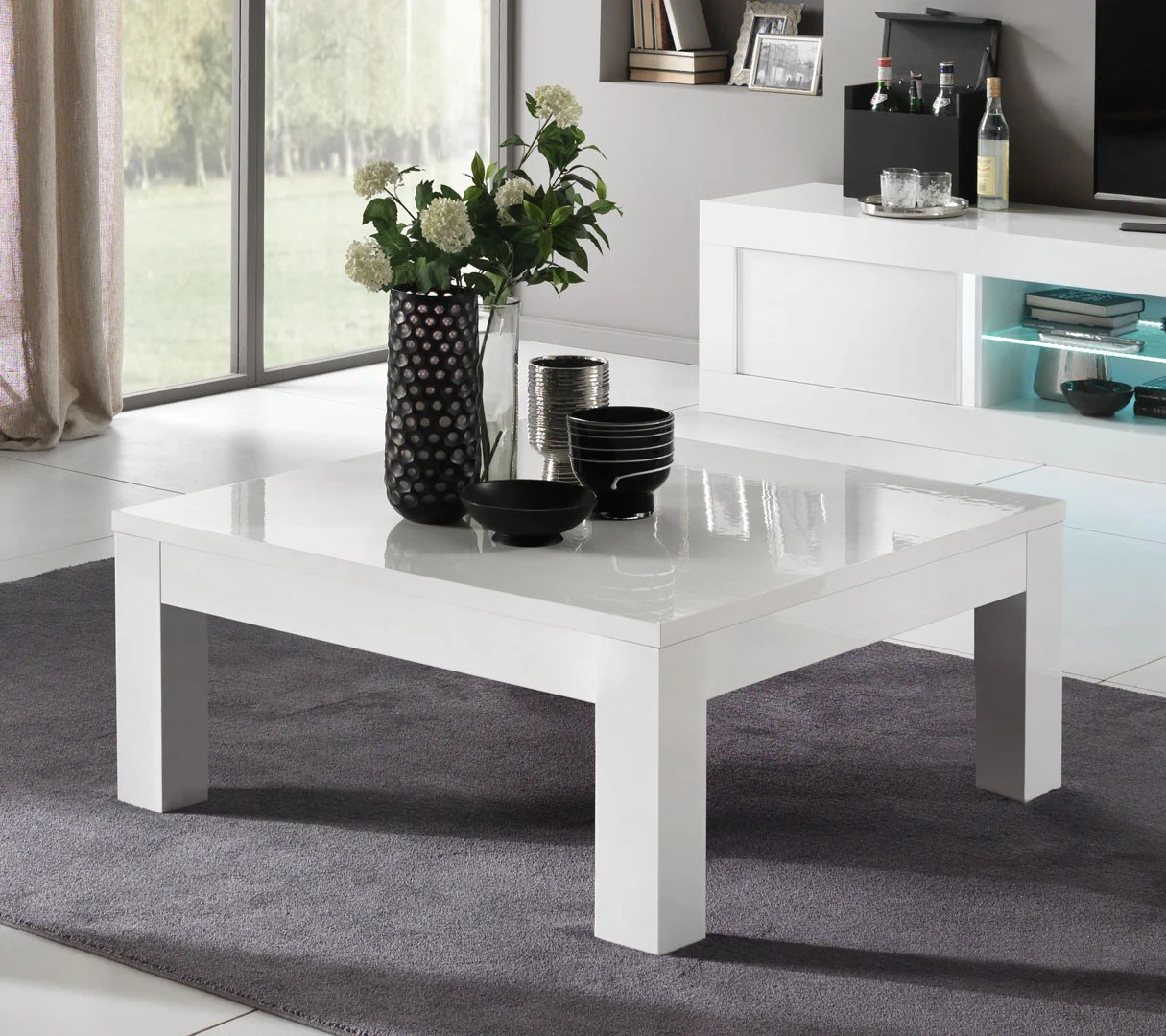 Table Design Carrée Table Basse Design Carrée Laquée Blanche Adelin